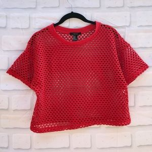 Forever 21 Red Crop Top with Holes